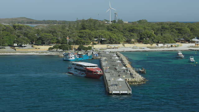 aerial view passenger ferry docking rottnest island perth - ferry stock videos & royalty-free footage