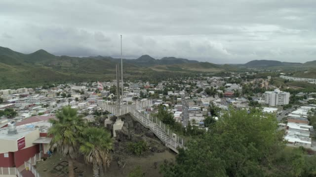 Aerial view past an observatory in Coamo Puerto Rico