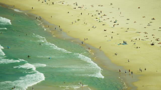 Aerial view people enjoying Bondi Beach Sydney Australia