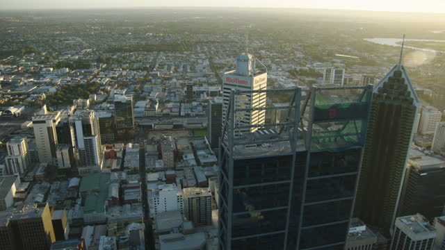aerial view perth city skyscrapers and suburban landscape - downtown stock videos & royalty-free footage