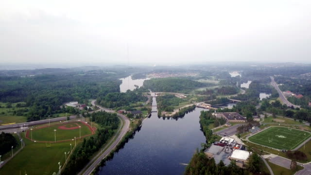 aerial view peterborough - ontario canada stock videos & royalty-free footage