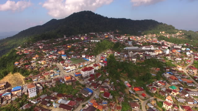 Aerial view Phongsali City, Laos