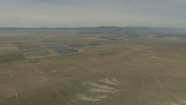 Aerial view photovoltaic solar energy panels Nevada desert