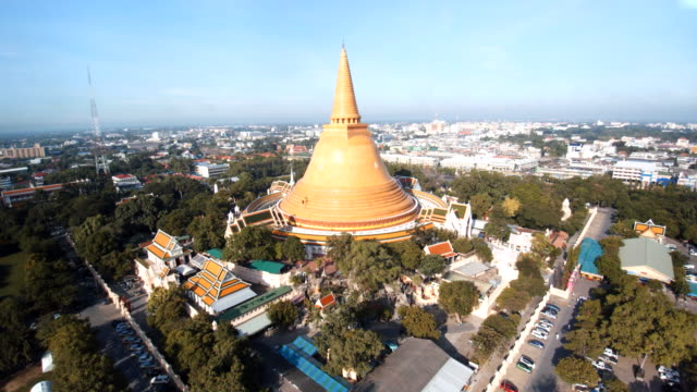 Aerial view Phra Pathommachedi is a stupa in Thailand.