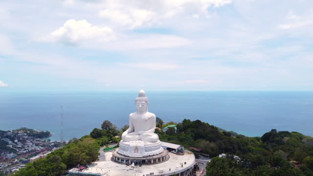 aerial view phuket big buddha is one of the island most important and revered landmarks on the island. - buddha stock videos & royalty-free footage
