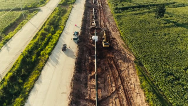 aerial view pipeline construction - pipeline stock videos & royalty-free footage