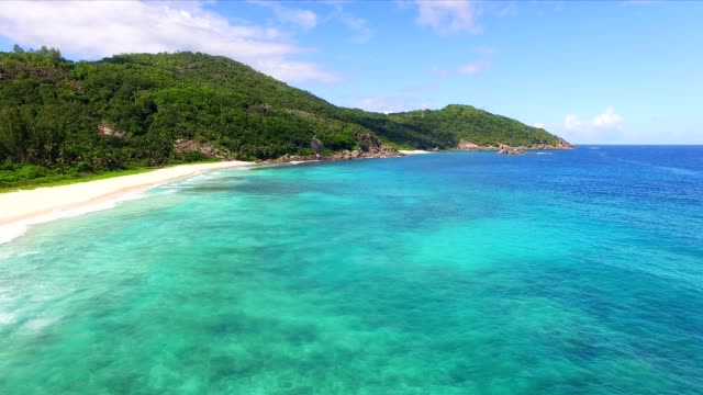 aerial view: police bay, mahé island, seychelles - seychelles stock videos & royalty-free footage