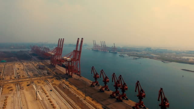 aerial view port in tangshan,china - nova scotia stock videos & royalty-free footage