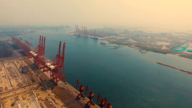 aerial view port in tangshan,china - nova scotia stock videos and b-roll footage