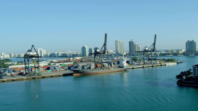 aerial view port miami international shipping container port - biscayne bay stock videos & royalty-free footage