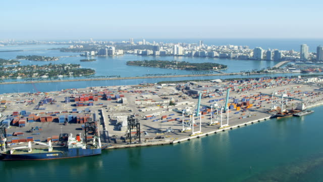 stockvideo's en b-roll-footage met aerial view port miami international shipping container port - biscayne bay