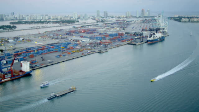 Aerial view Port Miami international shipping container port