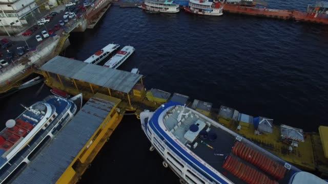 aerial view port of manaus, brazil - local landmark stock videos & royalty-free footage