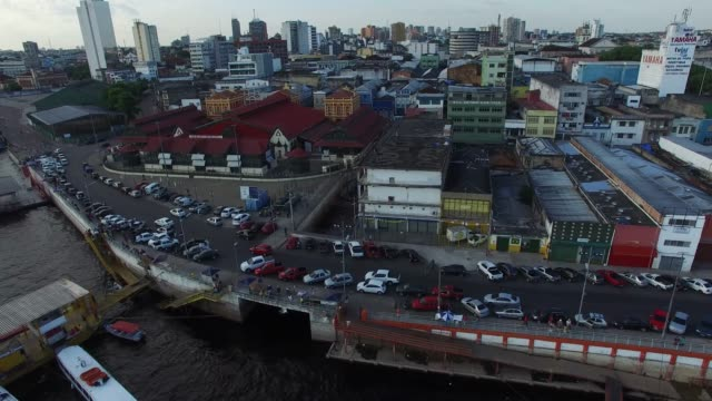 aerial view port of manaus, brazil - anchored stock videos & royalty-free footage