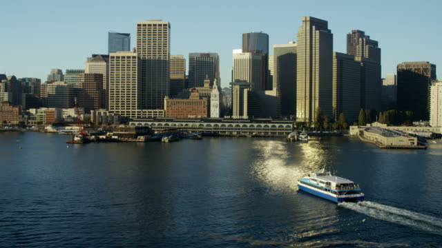 stockvideo's en b-roll-footage met aerial view port of san francisco skyline california - ferry