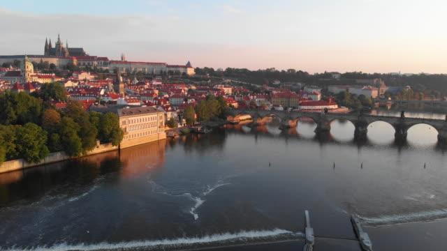 aerial view, prague - river vltava stock videos & royalty-free footage