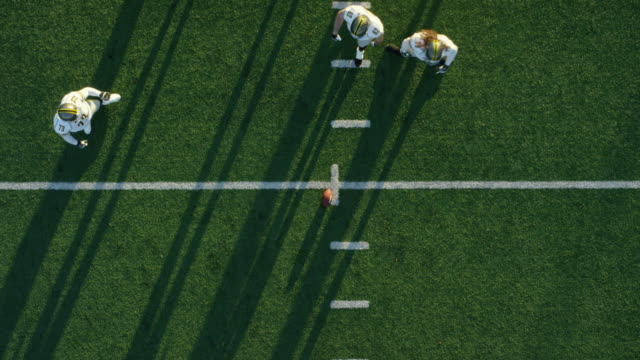 WS Aerial view Professional football defensive line at line of scrimmage and offense in huddle