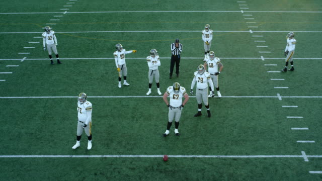 MS Aerial view Professional football defensive team waiting for opposing team to come to line of scrimmage