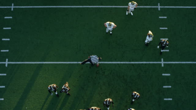 WS PAN Aerial view Professional football referee placing ball at line of scrimmage offensive line coming to ball and quarterback taking snap from shotgun position