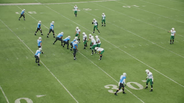 WS SLO MO Aerial view. Professional football teams break huddle and come to line of scrimmage, quarterback takes snap and passes to wide receiver who carries football into end zone for touchdown and celebrates with teammates.