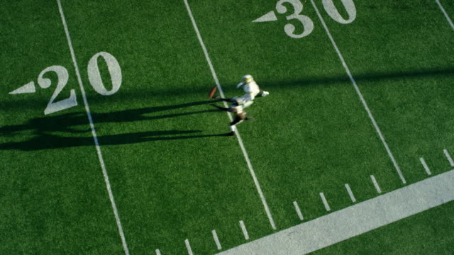 ws aerial view professional football wide receiver running down sideline and missing pass - defeat stock videos & royalty-free footage
