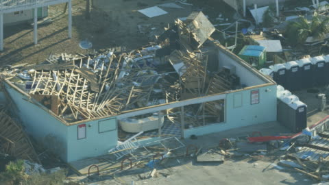 aerial view property totally destroyed by recent hurricane - damaged stock videos & royalty-free footage