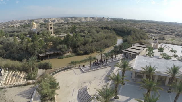 aerial view, qasr el yahud baptism site in the jordan river valley in the west bank, israel - baptism stock videos & royalty-free footage