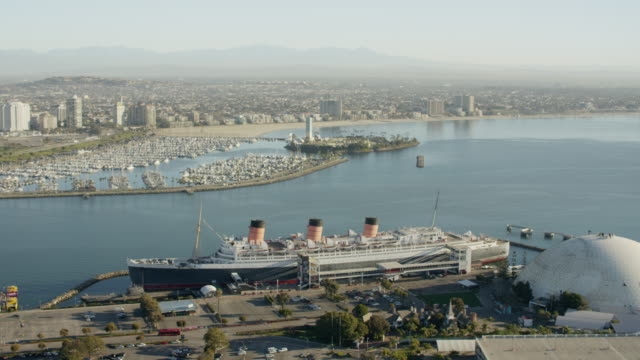 Aerial view Queen Mary liner Long Island California