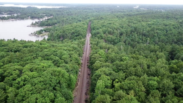 aerial view railway line in countryside - telegraph pole stock videos & royalty-free footage