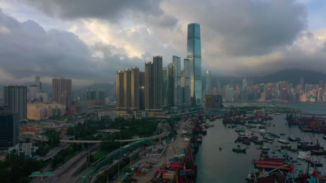 aerial view real time urban skyline and hong kong skyscraper - financial building stock videos & royalty-free footage