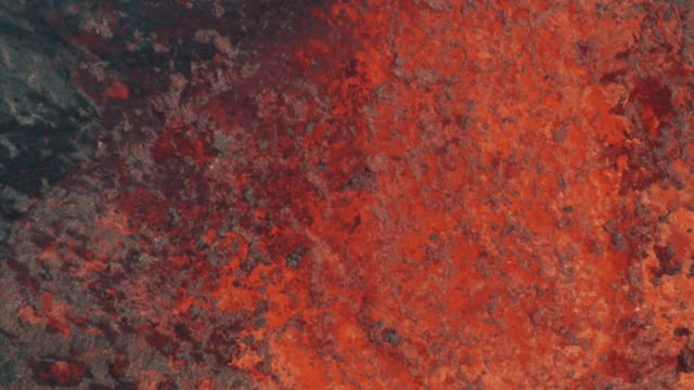 Aerial view red hot magma from earths crust