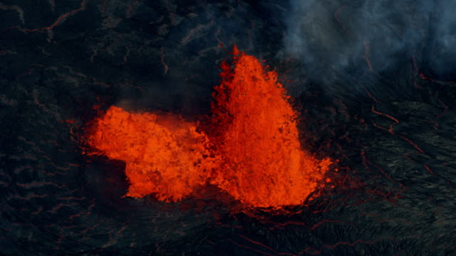 aerial view red hot molten lava erupting volcano - tectonic stock videos & royalty-free footage