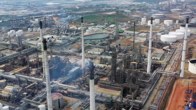 aerial view refinery plant - incomplete stock videos & royalty-free footage