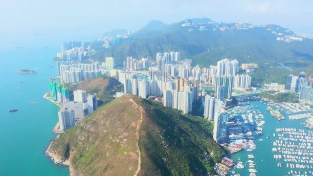 aerial view residential district in aberdeen and ap lei chau of hong kong - south stock videos & royalty-free footage