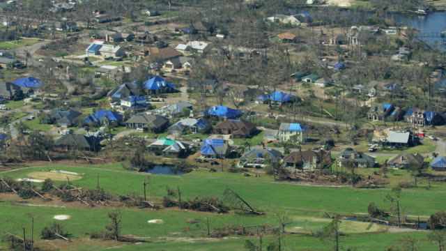 Aerial view residential property Hurricane Michael damage Florida