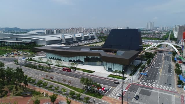 aerial view reverse flying of the hyundai motor co motorstudio showroom building stands in goyang south korea on friday july 14 2017 - goyang stock videos and b-roll footage