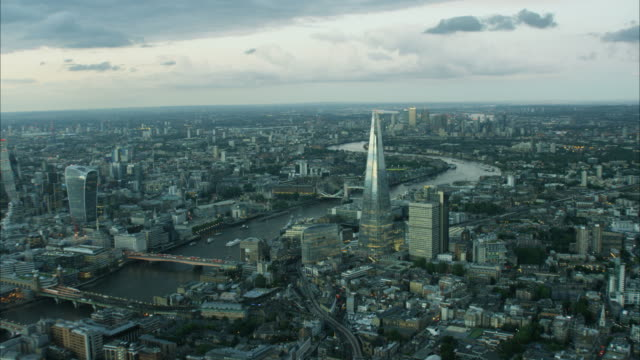 aerial view river thames and shard building london - shard london bridge stock videos & royalty-free footage