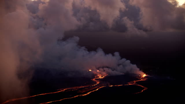aerial view rivers of hot magma open fissures - sulphur stock videos & royalty-free footage