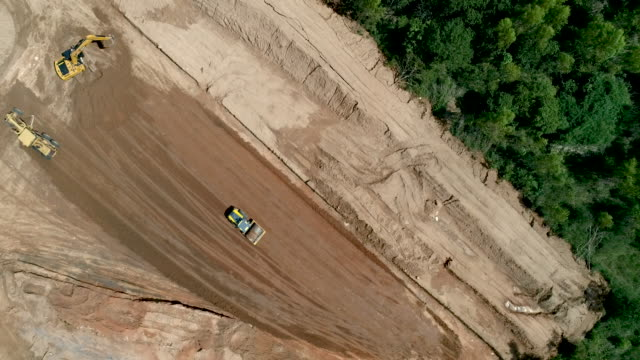 aerial view road construction machine at construction site - bulldozer stock videos & royalty-free footage
