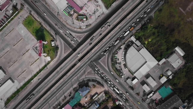 Aerial view road in Bangkok city, Thailand.