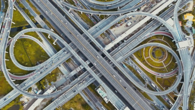 Aerial view road junction traffic highway