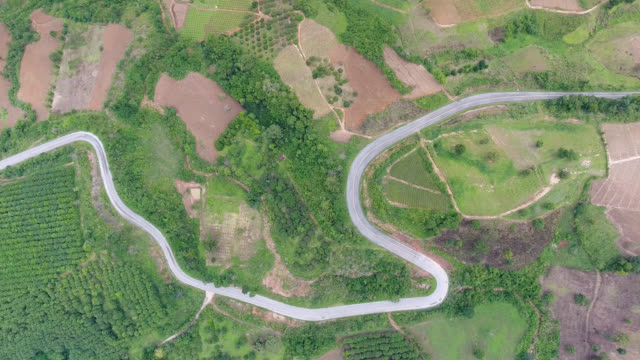 Aerial view Road On The Mountain pass.