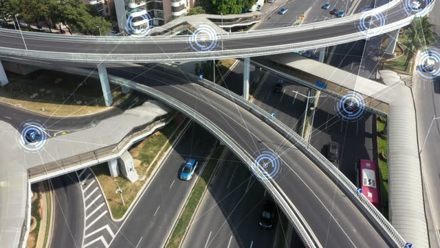 aerial view road traffic with technology - smart stock videos & royalty-free footage