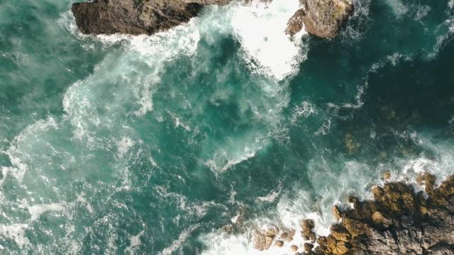 Aerial View Rock Cliffs on a Coastline
