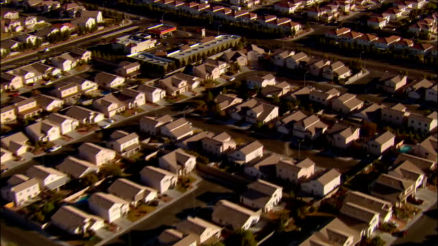aerial view rows of tract housing / las vegas, nevada - housing development stock videos & royalty-free footage