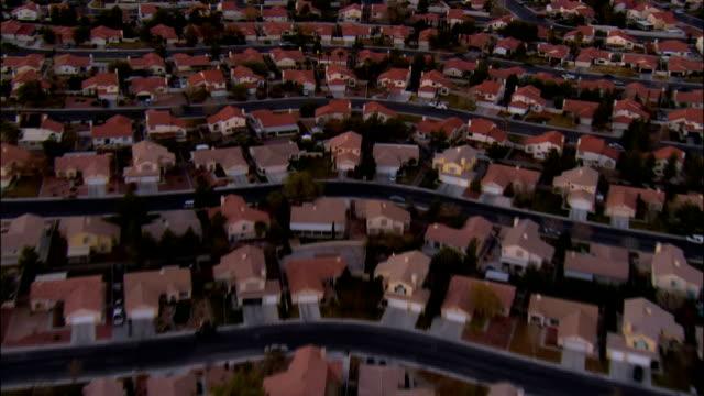 aerial view rows of tract housing / las vegas, nevada - suburban stock videos & royalty-free footage