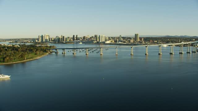 aerial view san diego coronado elevated road bridge - harbour stock videos & royalty-free footage