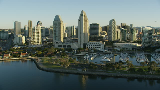 aerial view san diego embarcadero marina park north - san diego stock videos & royalty-free footage