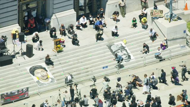 aerial view san francisco black lives matter demonstration - protestor stock videos & royalty-free footage