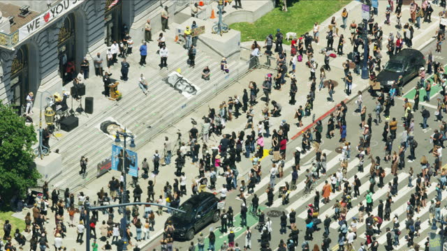 aerial view san francisco blm demonstration city hall - northern california stock videos & royalty-free footage